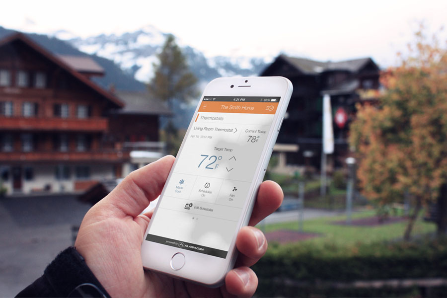 Home Security & Automation. Mobile App Showing Thermostat Settings